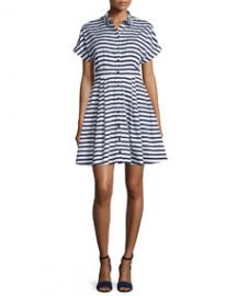 kate spade new york short-sleeve striped fit and flare shirtdress at Neiman Marcus