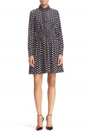 kate spade new york swan print silk blend shirtdress at Nordstrom