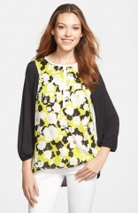 kensie Floral Front Mixed Media Top at Nordstrom