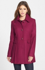 kensie Skirted Wool Blend Coat at Nordstrom