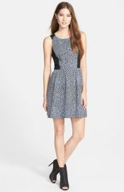 kensie Speckle Chevron Print Fit andamp Flare Dress at Nordstrom