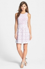 kensie Textured Lace Fit andamp Flare Dress at Nordstrom