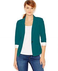 kensie Three-Quarter-Sleeve Blazer in Teal at Macys