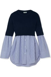 kenzo Ribbed-knit and striped cotton-poplin top at Net A Porter