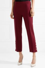 lela rose Faux pearl-embellished wool-blend crepe slim-leg pants at Net A Porter