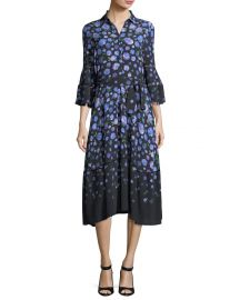 lela rose Floral-Print Tie-Waist Shirtdress at Bergdorf Goodman