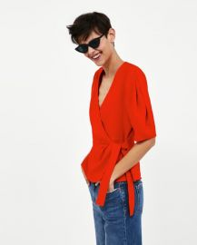 linen crossover top at Zara