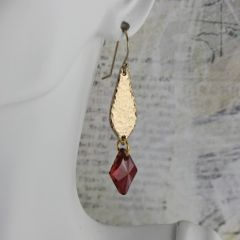 long earrings with deep red Swarovksi crystals gold bronze earrings unique gold earrings at Kathryn Designs