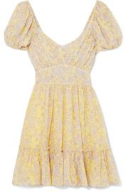 love shack fancy Ashley gathered floral-print silk-georgette mini dress at Net A Porter