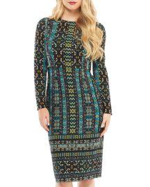 maggy london Long-Sleeve Global-Tile Sheath Dress at Last Call