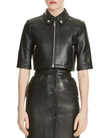 maje Brittany Cropped Leather Shirt Jacket at Bloomingdales