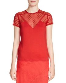 maje Tribor Illusion Lace Top in Red at Nordstrom