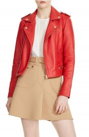maje Basalt Leather Moto Jacket at Nordstrom