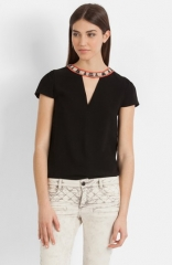 maje Bijoux Encolure Embellished Top at Nordstrom