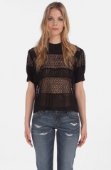 maje Daba Embroidered Sheer Blouse at Nordstrom