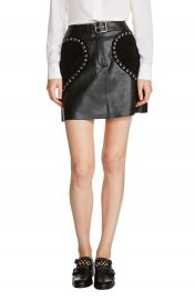 maje Heart Patch A-Line Leather Skirt at Nordstrom