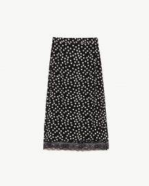 midi skirt with lace trim at Zara
