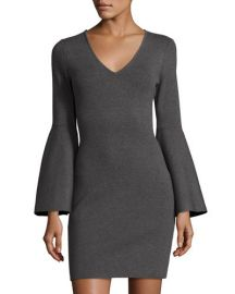 milly V-Neck Bell-Sleeve Stretch-Knit Minidress at Bergdorf Goodman