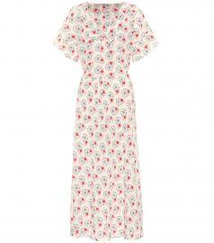 miu miu Floral silk crepe de chine dress at My Theresa