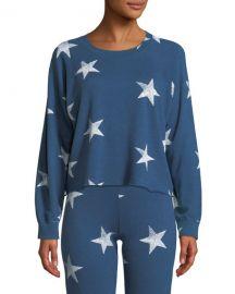 monrow Star-Print Crewneck Raglan Cutoff Sweatshirt at Bergdorf Goodman