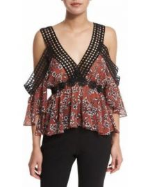 n nicholas Sicilian Floral Cold-Shoulder Top at Neiman Marcus