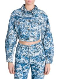 off white Tapestry Crop Denim Jacket at Saks Fifth Avenue
