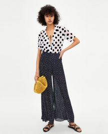 pleated polka dot pants at Zara