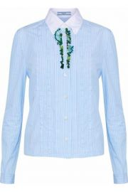 prada EMBELLISHED STRIPED COTTON-POPLIN SHIRT at The Outnet
