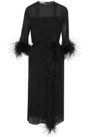 prada Feather-trimmed silk-georgette midi dress at Net A Porter