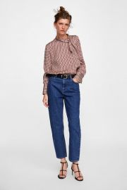 print blouse with bow at Zara