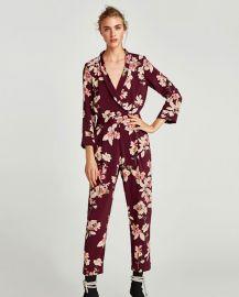 printed bodysuit with lapel collar at Zara
