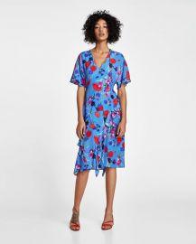 printed dress with frills at Zara