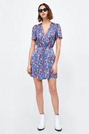 printed satin dress at Zara