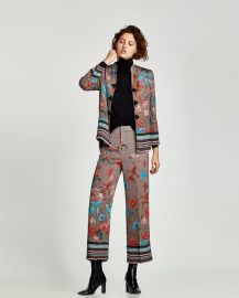 printed trousers with side seam at Zara