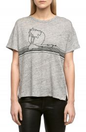 rag   bone JEAN Palm Embroidered Linen Tee at Nordstrom