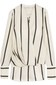 rag   bone   Max wrap-effect striped silk blouse at Net A Porter