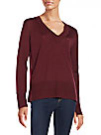 rag   bone JEAN - Leanna Seamed Merino Wool V-Neck Sweater at Saks Off 5th