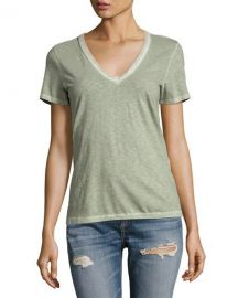 rag  amp  bone JEAN Sublime Wash V-Neck Tee  Green at Neiman Marcus