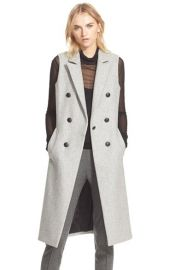 rag and bone Faye Long Double Breasted Wool Blend Vest at Nordstrom