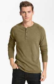 rag and bone Raglan Henley in olive at Nordstrom