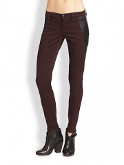 rag and boneJEAN - Pop Leather-Paneled Skinny Jeans at Saks Fifth Avenue