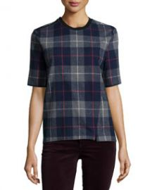 rag and boneJEAN Austin Plaid Short-Sleeve Top Charcoal at Neiman Marcus