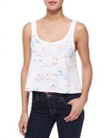 rag and boneJEAN Cody Cropped Beach Tank Azure White at Neiman Marcus
