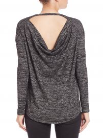 rag and boneJEAN Show Off Long Sleeve Drape-Back Tee in Heather at Saks Fifth Avenue