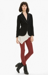 rag andamp bone Bromley Leather Trim Knit Blazer at Nordstrom