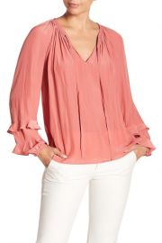 ramy brook Anna Long Sleeve Ruffle Trim Blouse at Nordstrom Rack