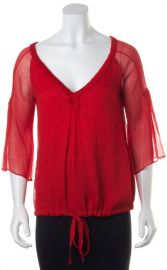 red Silk Ruffled Blouse Top by Diane von Furstenberg at Material World