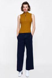 ribbed top with zipper at Zara