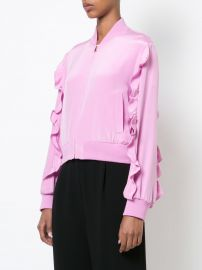 ruffle trim bomber jacket at Farfetch