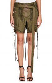 saint laurent Cotton-Linen Twill Lace-Up Shorts at Barneys